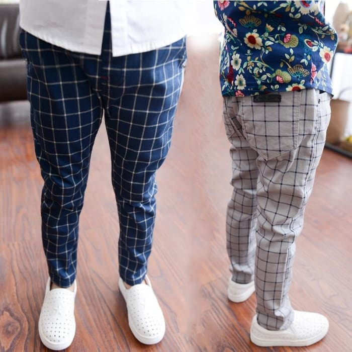 Boys Plaid Long Pants - Boys