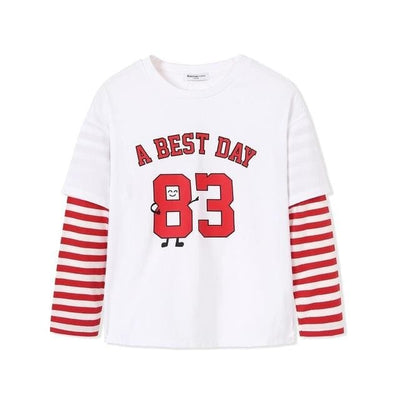 Boys Round Neck Stripes Cotton T-Shirt - 03 / 2Y - Boys