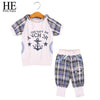 Boys Summer Letter Plaid Hooded T Shirt+ Pants Outfit - Boys