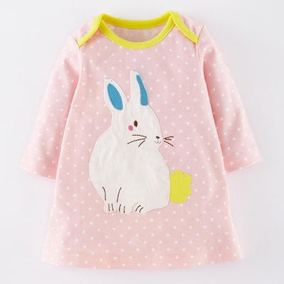 Bunny Printing Design Baby Girls Dress - Pink / 1Y 6M - Girls