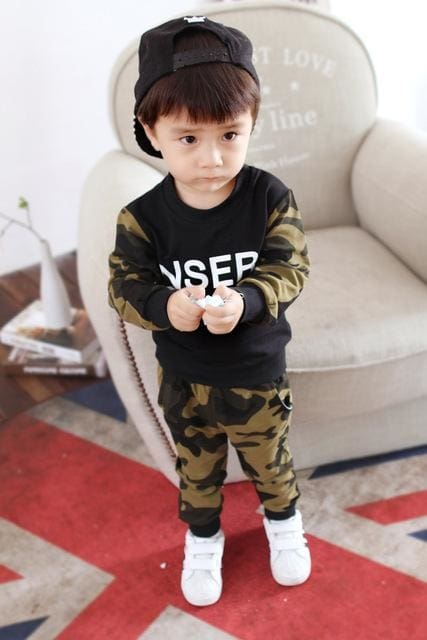 Camouflage Winter Long Sleeve T-Shirt + Casual Long Pants 2Pcs - Boys