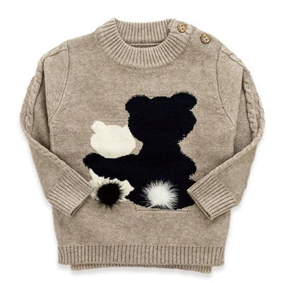 Cartoon Bear Round Neck Long Sleeve Sweater - Khaki / 1Y - Girls