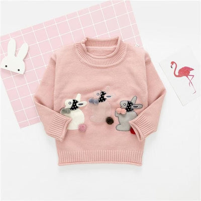 Cartoon Bear Round Neck Long Sleeve Sweater - Light Pink / 1Y - Girls