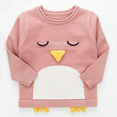 Cartoon Bear Round Neck Long Sleeve Sweater - Pink / 1Y - Girls