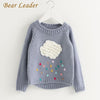 Cartoon Cloud Long Sleeve Outerwear O-Neck - Girls