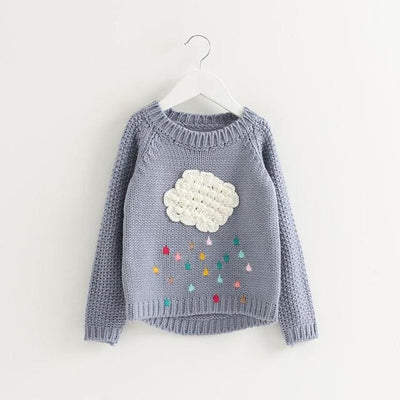 Cartoon Cloud Long Sleeve Outerwear O-Neck - Gray / 3Y - Girls