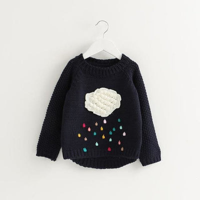 Cartoon Cloud Long Sleeve Outerwear O-Neck - Navy Blue / 3Y - Girls