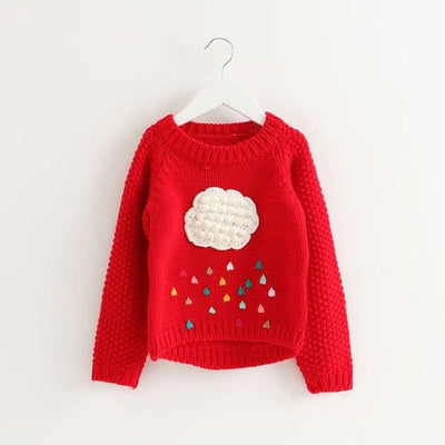 Cartoon Cloud Long Sleeve Outerwear O-Neck - Red / 3Y - Girls