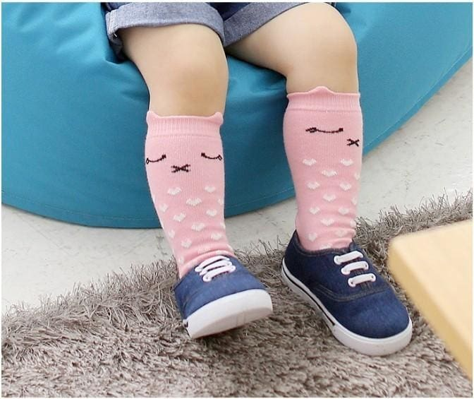 Cartoon Fashion Mid-Calf Socks - Pink Pig / M - Baby Girls