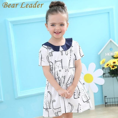 Cartoon Pattern Short Turn-Down Collar Bow Design - Blue / 3Y - Girls