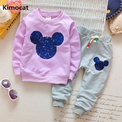 Cartoon Printing Sweatshirts+Casual Pants - Baby Girls