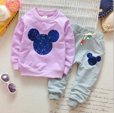 Cartoon Printing Sweatshirts+Casual Pants - Lavender / 6M - Baby Girls