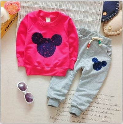 Cartoon Printing Sweatshirts+Casual Pants - Pink / 6M - Baby Girls