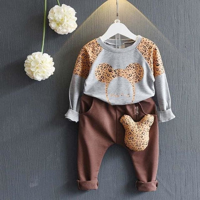 Cartoon Sweater+Pants 2Pcs Outfit - Brown / 3Y - Girls