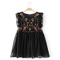 Casual Sleeveless Hollow Out Floral - Black / L - Girls