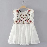 Casual Sleeveless Hollow Out Floral - White / L - Girls