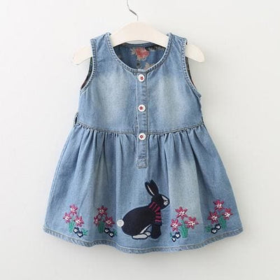 Casual Style Baby Girl Clothes Summer Dres - Blue / 3Y - Girls