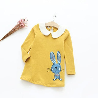 Casual Style Girls Clothes Cartoon Rabbit - Yellow / 3Y - Girls