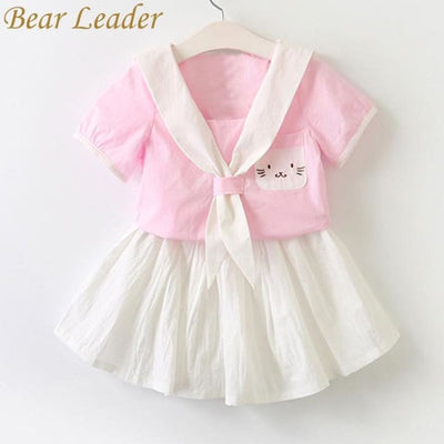Cat Dress Embroidery Set Sailor Collar Dress - Girls