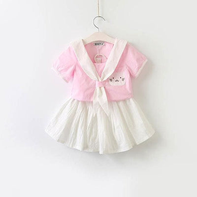 Cat Dress Embroidery Set Sailor Collar Dress - Pink / 3Y - Girls