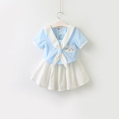 Cat Dress Embroidery Set Sailor Collar Dress - Sky Blue / 3Y - Girls