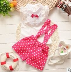 Chiffon Plaid Sleeveless T-Shirt+Pant Suits - Red / 3Y - Girls