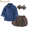 Childrens Denim Shirt+Leopard Skirt+Head Flower - Girls