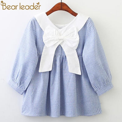 Clohting Peter Pan Collar Behind The Bow Striped Dress - Girls