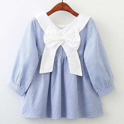 Clohting Peter Pan Collar Behind The Bow Striped Dress - Blue / 3Y - Girls