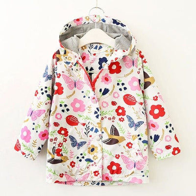 Clothes Bird&flowers Print Hooded - Girls