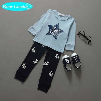 Cotton Boy Letter Star Long Sleeve Suits Children Clothing - Sky Blue / 1Y 6M - Baby Boys