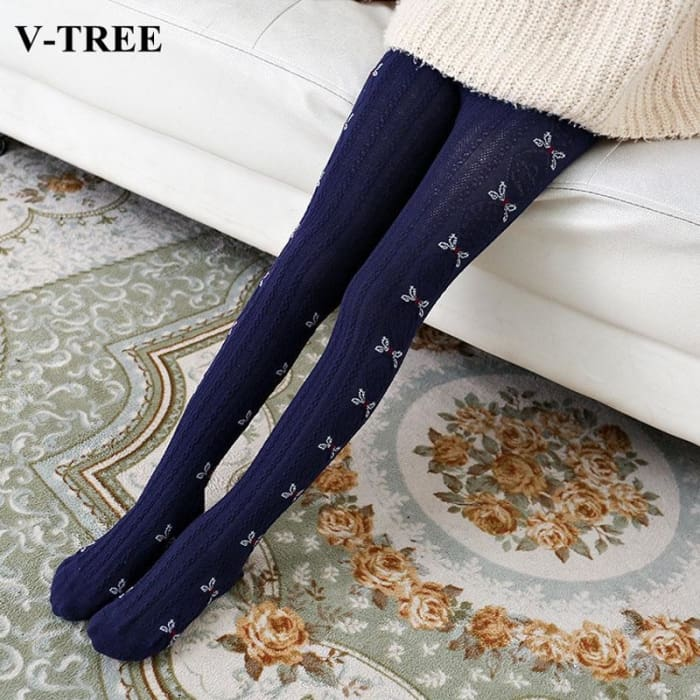 Cotton Tights For Girls - Blue / 7 To 10 - Girls