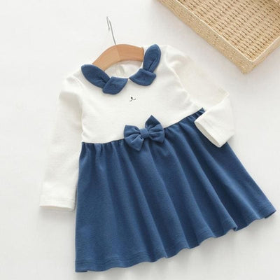 Cute Bow-Knot Dress - Navy Blue / 3Y - Girls