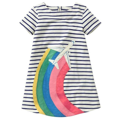 Cute Dress White Belt Denim Dress Sleeveless Cotton - Rainbow-Gray / 7Y - Girls