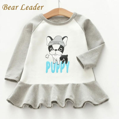 Cute Puppy Print Kids Dress - Girls
