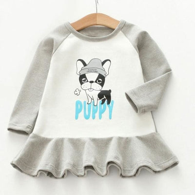 Cute Puppy Print Kids Dress - Gray / 3Y - Girls