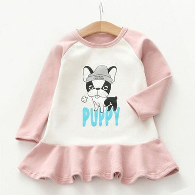 Cute Puppy Print Kids Dress - Pink / 3Y - Girls