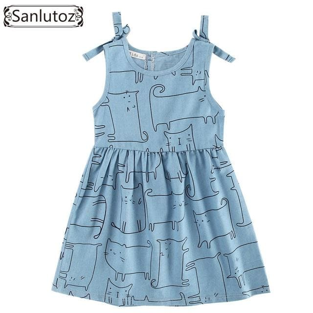 Denim Girl Clothes Cat Dress - Girls