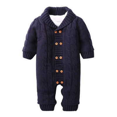 Double-Breasted Turn-Down Collar Baby Jumpsuits - Navy Blue / 1Y - Baby Boys