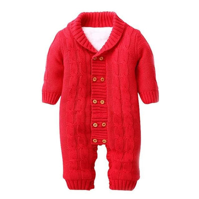 Double-Breasted Turn-Down Collar Baby Jumpsuits - Red / 1Y - Baby Boys
