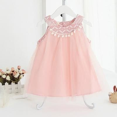 Dress Birthday Dress Sleeveless Tassel Design - Pink / 1Y - Girls