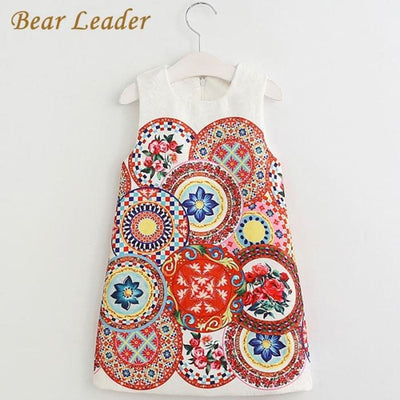 Dress Pattern Pring Design Sleeveless - Girls
