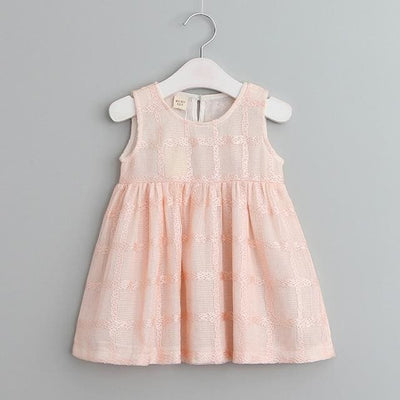 Dress Pattern Pring Design Sleeveless - Pink / 3Y - Girls