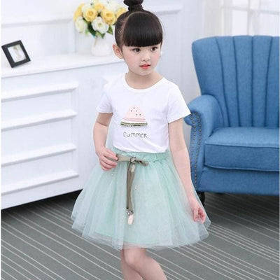 Dresses White Short T-Shirt +Short Skirt - Green / 3Y - Girls