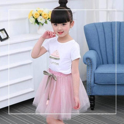 Dresses White Short T-Shirt +Short Skirt - Pink / 3Y - Girls