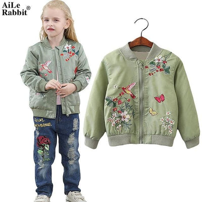 Embroidered Coat - Army Green / 3Y - Girls