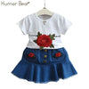 Embroidery Rose T-Shirt+ Cowboy Skirt 2Pcs - Girls