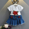 Embroidery Rose T-Shirt+ Cowboy Skirt 2Pcs - White / 3Y - Girls