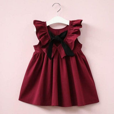 Falbala Collar Back Bowknot Solid Color Cute Dresses - Red Wine / 2Y - Girls