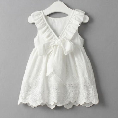 Falbala Collar Back Bowknot Solid Color Cute Dresses - White / 2Y - Girls